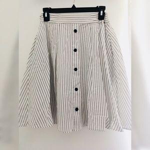 Striped a-line midi skirt with pockets